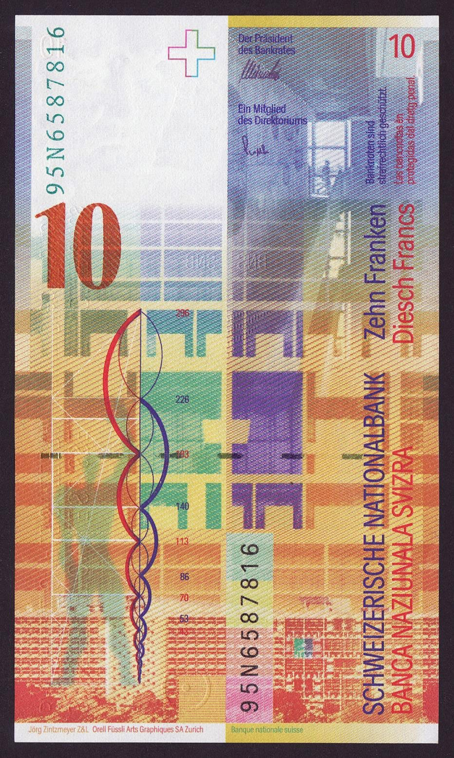 Switzerland Currency 10 Swiss Francs note