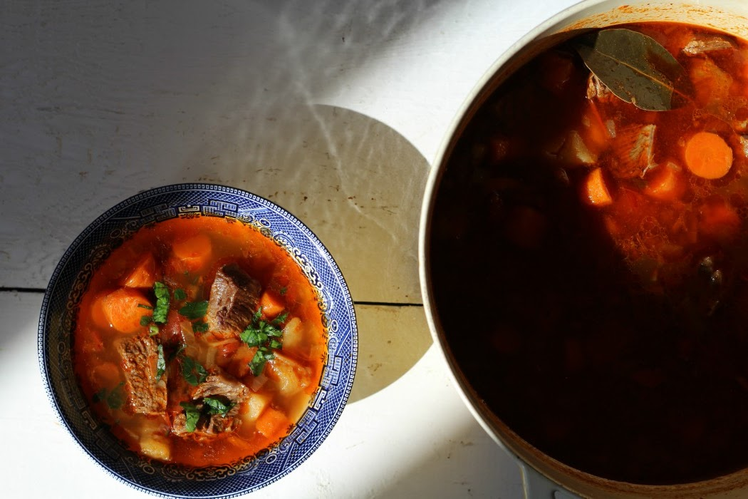 A wonderful Hungarian Goulash Soup (Gulyásleves) that is true comfort food. It is a simple soup that is a delicious beef soup with a rich paprika seasoned broth. It is the most perfect soup to enjoy on a cold winter's day.