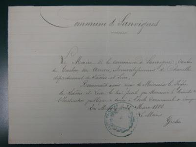 Accusé de réception par le Maire de Sanvignes de trois fusils de tir scolaire, 1882 (AD71)
