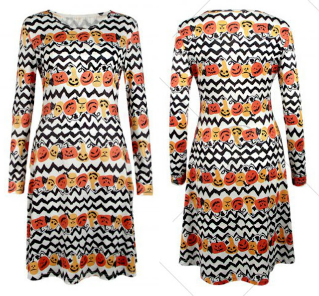 Long Sleeve Halloween Pumpkin Print Dress
