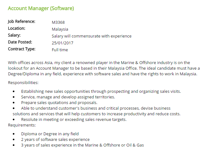 Oil &Gas Vacancies: Account Manager (Software) - Malaysia