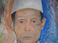 Lukisan KH Ahmad Shodiq Lampung timur (Ngalap Berkah)
