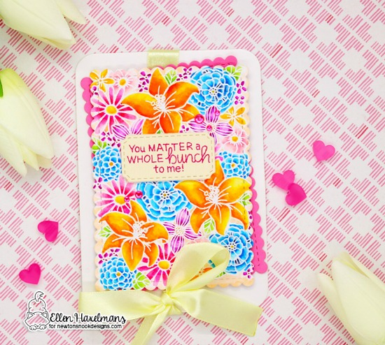 Floral Card by Ellen Haxelmans | Blooming Botanicals Stamp Set + Framework Die Set by Newton's Nook Designs #newtonsnook