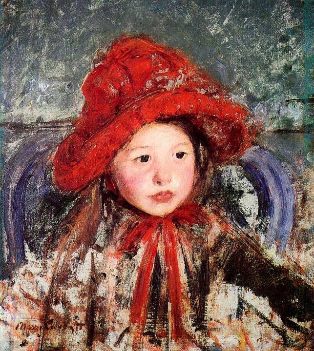 Garota Pequena com Grande Chapéu Vermelho - Pinturas de Mary Cassatt | Mulheres na pintura