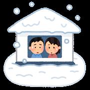 大雪で孤立した家のイラスト