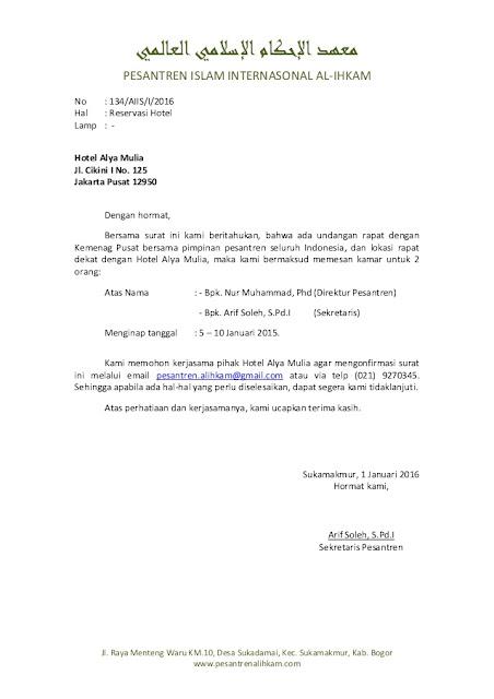 contoh surat pemesanan hotel