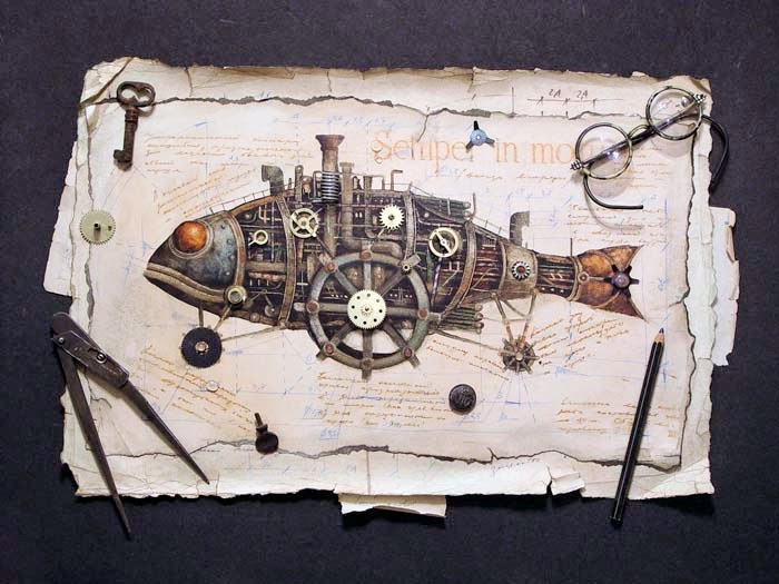 12-Vladimir-Gvozdev-Surreal-Steampunk-Animal-Drawings-www-designstack-co