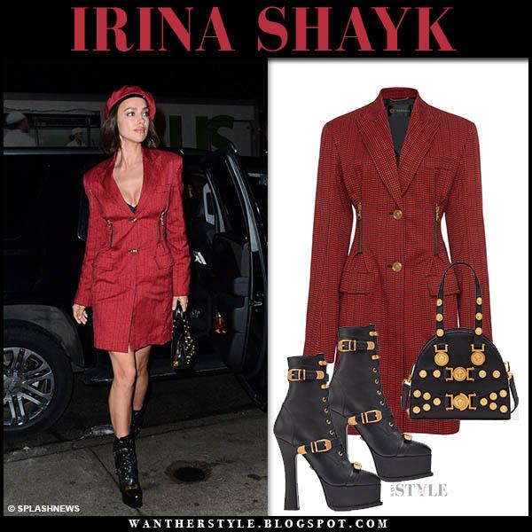 Irina Shayk in red zipper blazer versace dress and black versace boots model style january 8