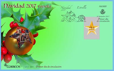 Filatelia - Navidad 2017 - España - Sobre Primer día de circulación Estrella