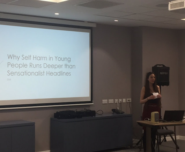 "Me, about to begin my keynote speech ""Why Self Harm in Young People Runs Deeper than Sensationalist Headlines"""