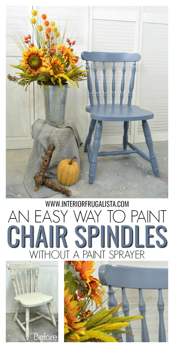 An easy way to paint wooden chair spindles when you don't have access to a paint sprayer or paint indoors. Plus helpful tips, useful products, and more. #painttutorial #chairmakeover #woodenchair #painttips
