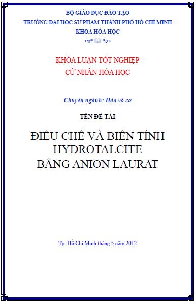 Điều chế và biến tính Hydrotalcite bằng Anion Laurat