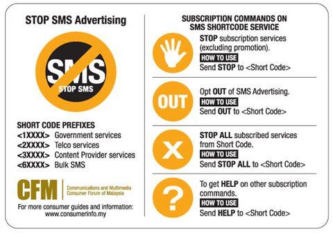 Gambar cara hentikan iklan SMS dari M Edge Sdn Bhd