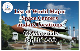 List of World Major Space Centers and its Locations- GK Materials for LIC AAO