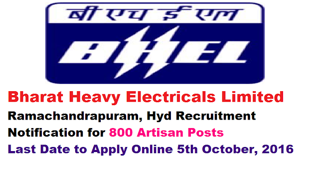 Bhel Recruitment . Bharat Heavy Electricals Limited (BHEL), Ramachandrapuram, Hyderabad released employment news and invited online applications through careers.bhel.in.As per the notification BHEL – Hyderabad is going recruit 800 Artisan Posts in Heavy Power Equipment Plant located in Ramachandrapuram, HYD. The last date to apply online for these posts is 5th October, 2016/2017-2016./2016/08/bhel-recruitment-bharat-heavy-electricals-limited-2016-online-application-for-800-artisan-.html