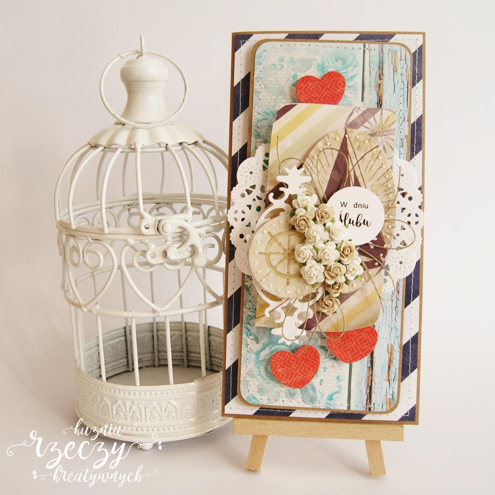 Komplet: kartka, pudełko oraz ekotorebka z okazji ślubu i wesela... na statku.