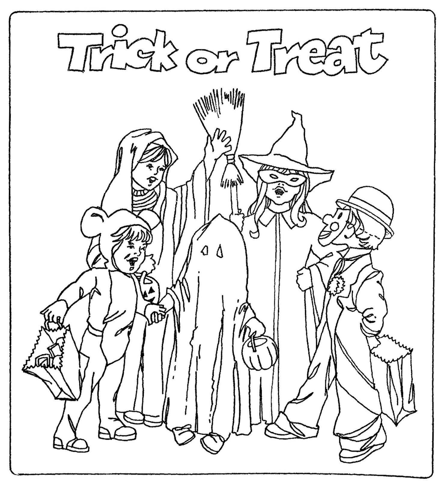 halloween trick or treaters coloring pages | Halloween 2019 trick or treat coloring pages printable for ...