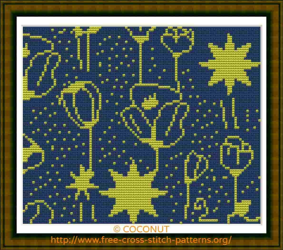 FLOWERS AND STARS , FREE AND EASY PRINTABLE CROSS STITCH PATTERN