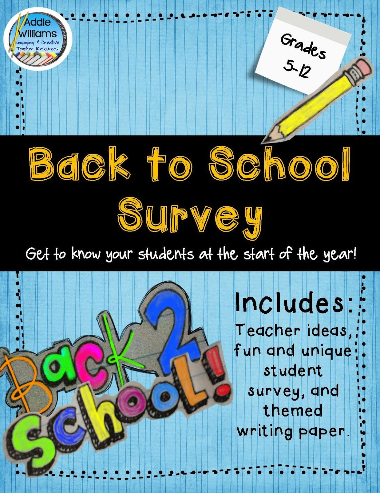 Classroom Freebies Back To School Student Survey