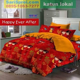 Sprei Katun Motif Anak Happy Ever After Star