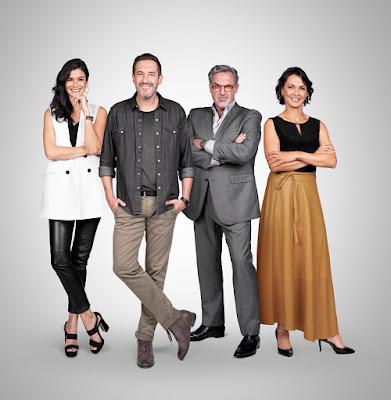 Na foto, a apresentadora do 1 por Todos, Caroline Ribeiro, o mentor da 1ª temporada, Alê Costa,  e os jurados Fabrizio Fasano e Mônica Burgos. (Divulgação/ Band)