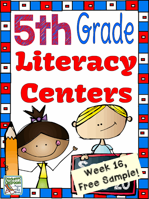 5th Grade Literacy Centers, Week 16 Free Sample