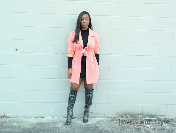 coral and gray outfit, coral and black outfit, pink coat outfit, jewels with style, black fashion blogger, columbus ohio stylist, otk boots outfit, over the knee boots outfit, over the knee boots with a dress, animal print over the knee boots, gray over the knee boots, dress with coat outfit, coral coat outfit, black over the knee boots, black style blogger, black turtleneck dress outfit, columbus personal stylist