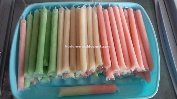 Proses Pembuatan Resep Es Lilin Susu Pop Ice
