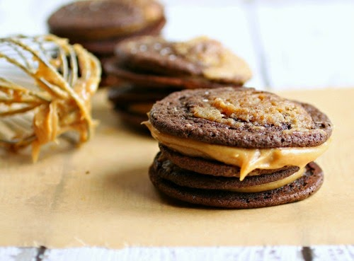 Chocolate and Peanut Butter Marbled Sandwich Cookies