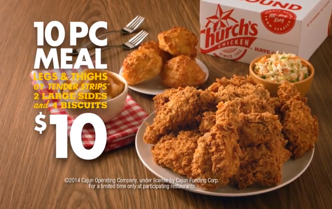 news: church's chicken - 10 piece meal for $10 | brand eating