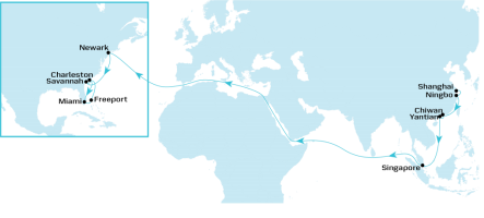What is the transit time between Shanghai Port and Miami Port