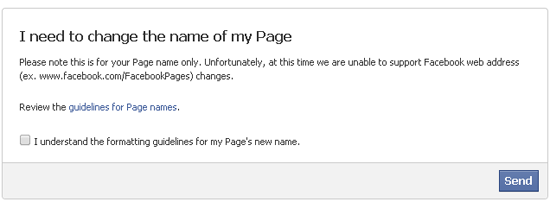 how to change my facebook page url name