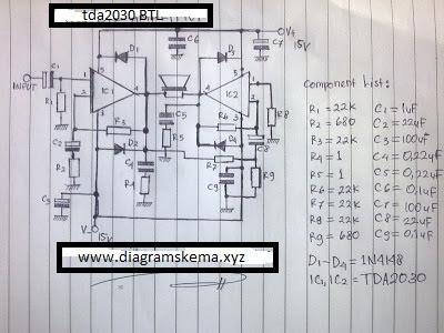 Skema rangkaian Power Amplifier BTL 100W dengan TDA2030