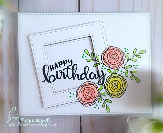 Floral Birthday card by Maria Russell | Lovely Blooms and Birthday Essentials Sentiment Stamp Set by Newton's Nook Designs #newtonsnook #handmade