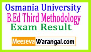 Osmania University B.Ed Third Methodology Sep 2016 Exam Results