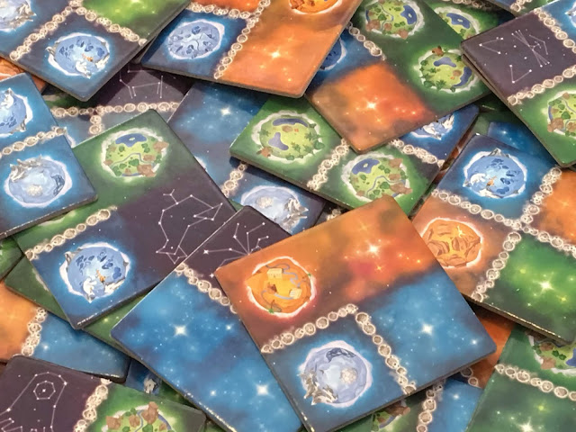 Kaosmos board game by Kane Klenko and Gigamic--Galaxy tiles (Cosmic Factory)