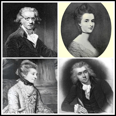 Four people who appear in A Perfect Match:  Top left: Painter, Sir Joshua Reynolds  Top right: Whig hostess, Elizabeth Lamb, Viscountess Melbourne  Bottom left: Bluestocking hostess, Elizabeth Montagu  Bottom right: Abolitionist MP, William Wilberforce (1)