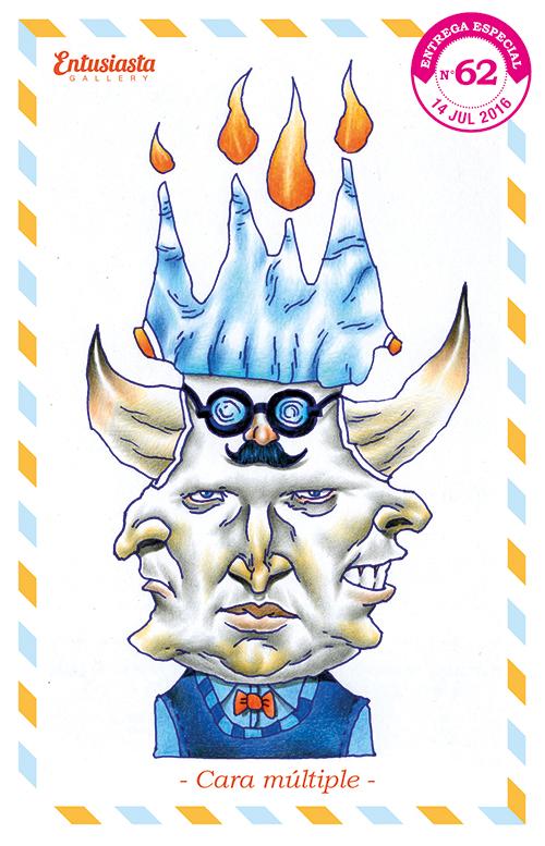 Un hombre con múltiples caras, una máscara, cuernos y un volcán de hielo y fuego en la cabeza.