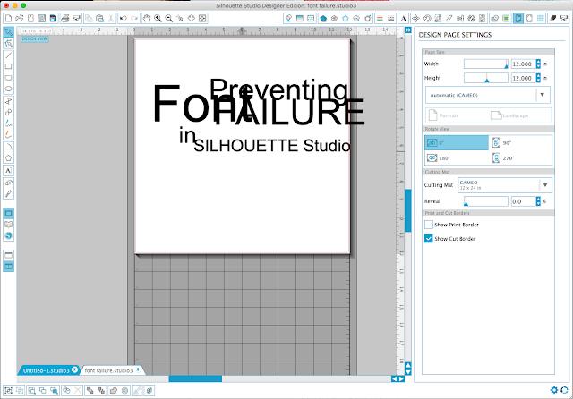Silhouette Studio, font, font failure