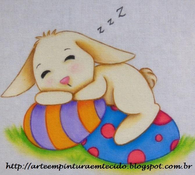 pintura em tecido páscoa coelho ovos