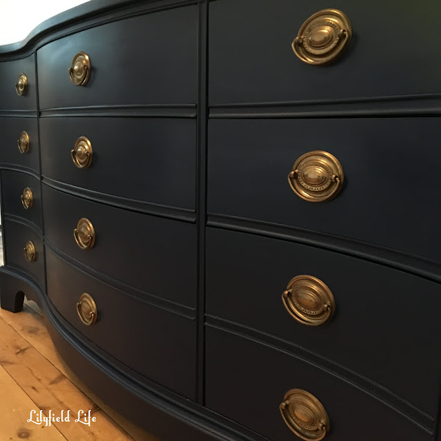 navy blue painted serpentine drawers by Lilyfield Life