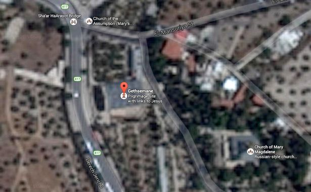 Obscured: the garden of Gethsemane where Jesus is said to have spent his last night is a blur (Image: Google Maps)