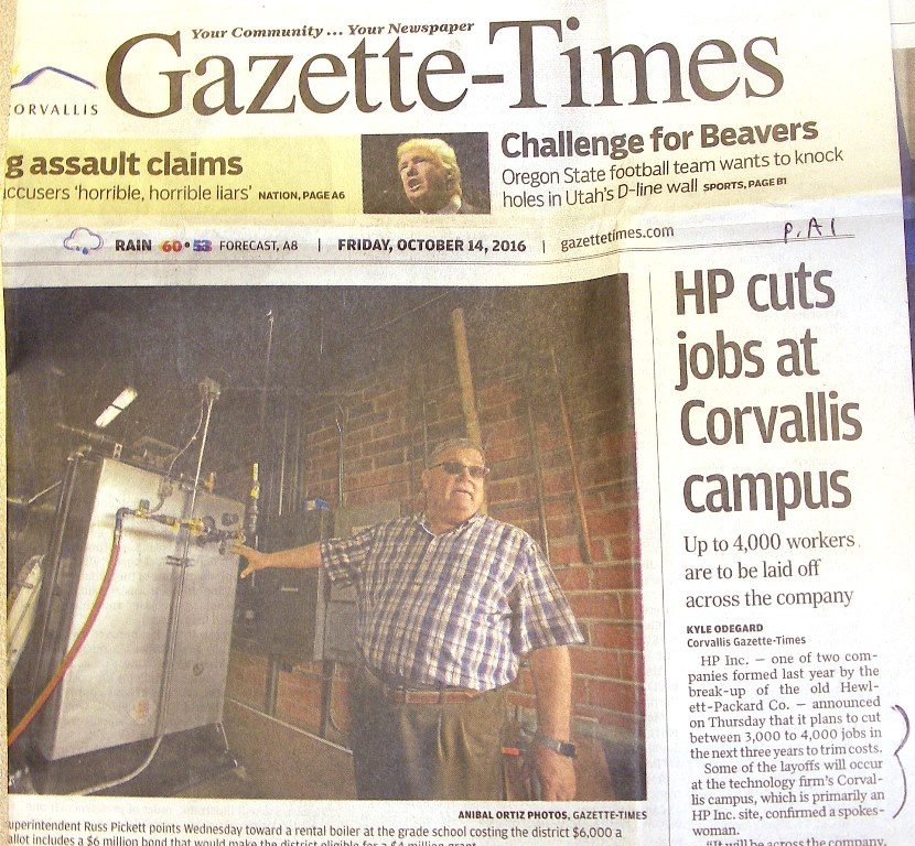 GT headline, 'HP cuts jobs at Corvallis Campus,' Oct. 14, 2016, p. A1