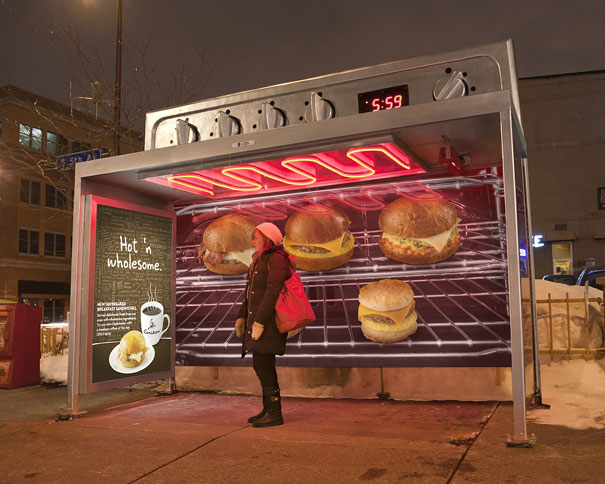 9. Caribou Coffee: Oven Bus Stop Ad Campaign