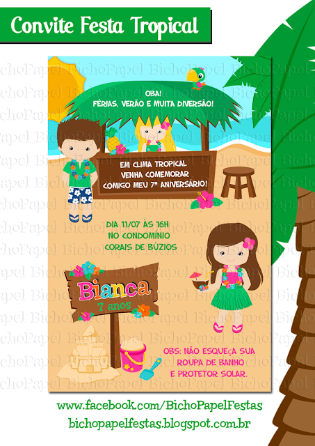 Arte Convite Tropical luau