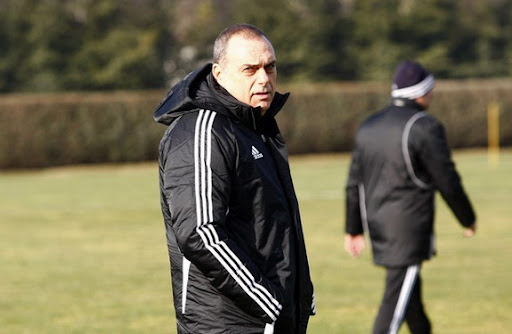 Avram Grant attends a training session with his new club Partizan Belgrade
