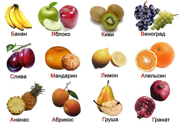 fruits in russian