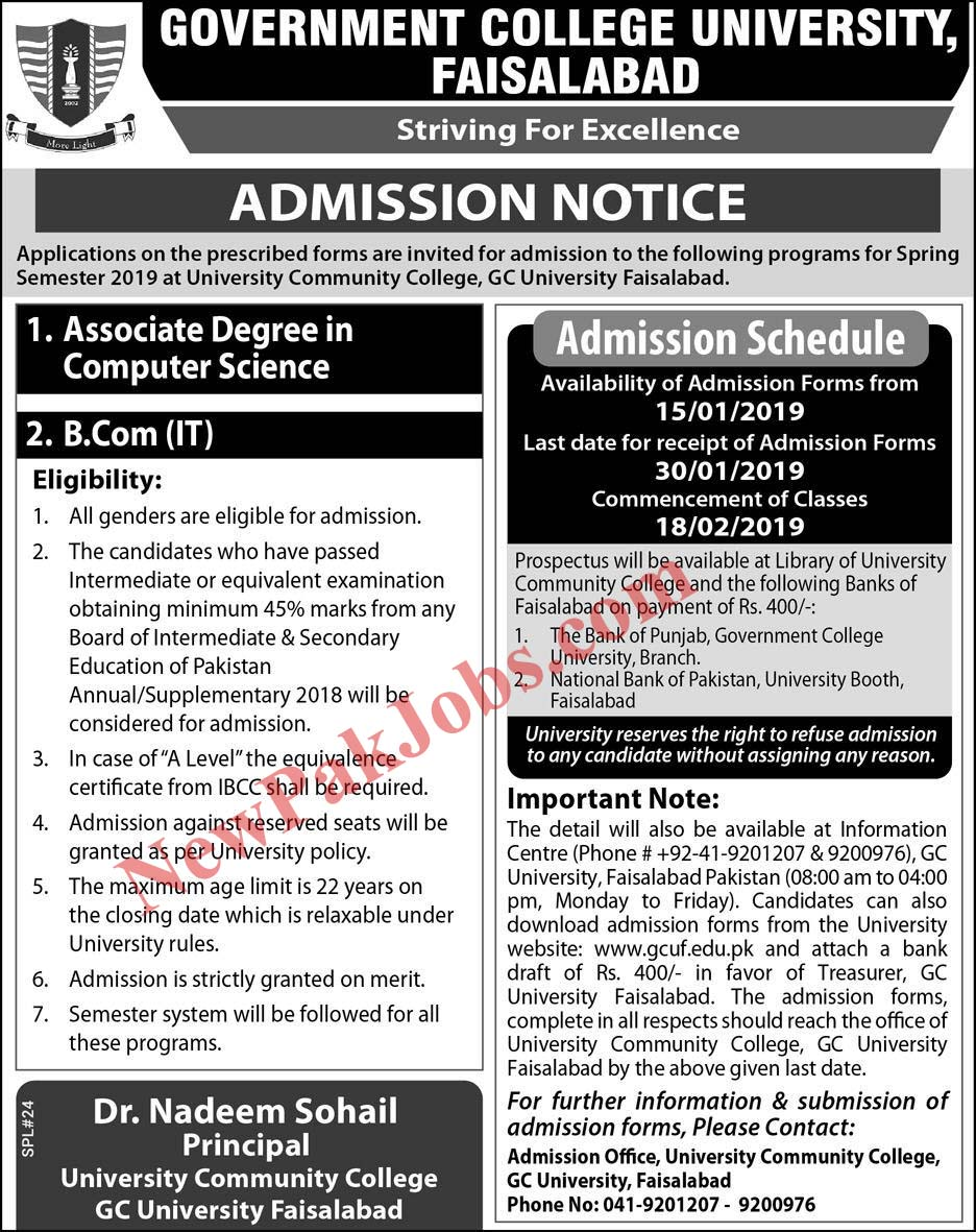 Admissions 2019 Open in GC University Faisalabad