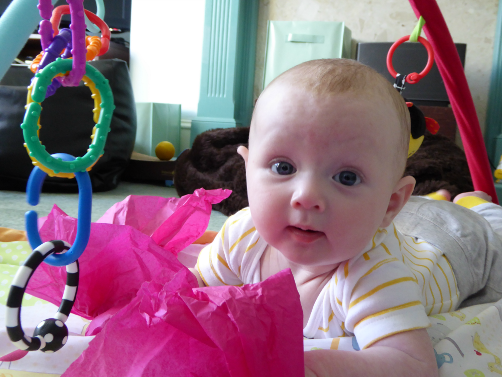 5 Things We Could Learn From Babies - Matilda with pink tissue paper