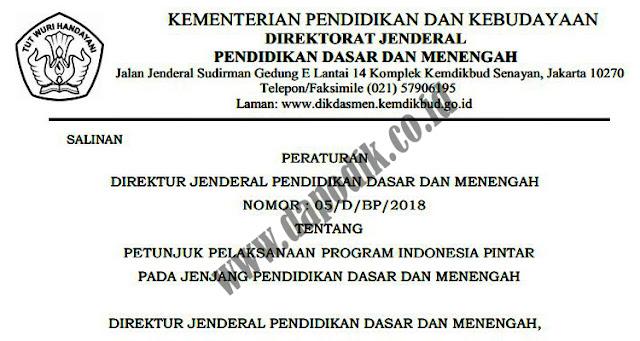 Peraturan Direktur Jenderal Pendidikan Dasar dan Menengah Nomor: 05/d/bp/2018 Tentang Juklak  Pelaksanaan Program Indonesia Pintar (PIP) Pada Jenjang Pendidikan Dasar Dan Menengah